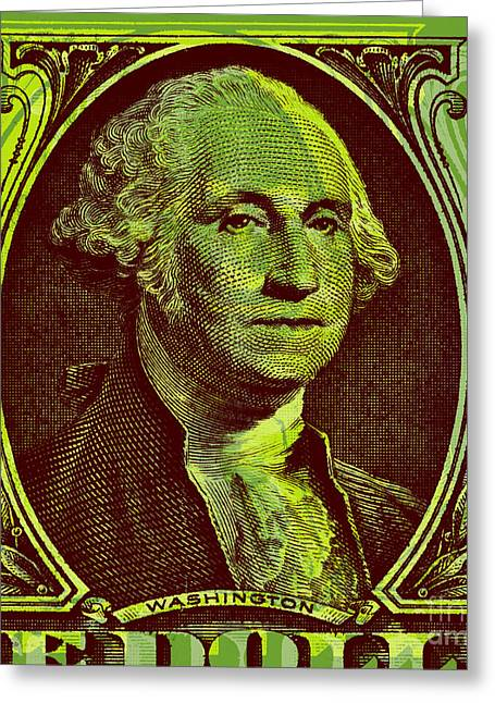 Greeting Card featuring the digital art George Washington - $1 Bill by Jean luc Comperat