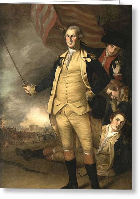 George Washington At The Battle Of Princeton Greeting Card by Charles Willson Peale