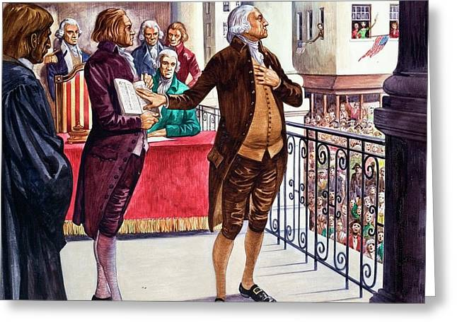George Washington Being Sworn In As President Of The United States Greeting Card by Peter Jackson