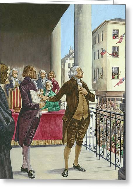 George Washington Being Sworn In As The First President Of America In New York Greeting Card