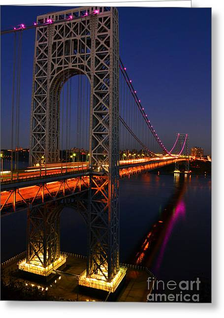 George Washington Bridge At Night Greeting Card