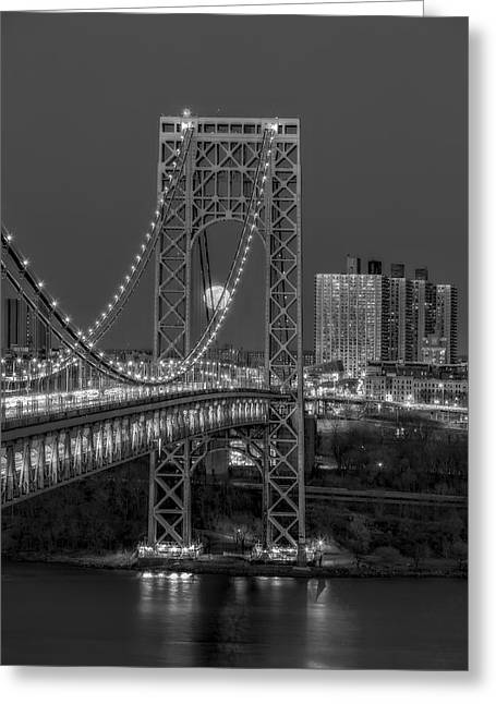 George Washington Bridge Full Moonrise Bw Greeting Card