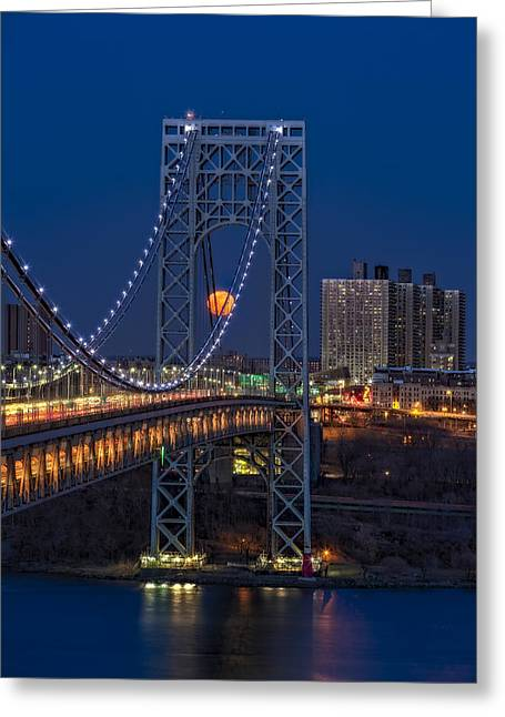 George Washington Bridge Full Moonrise Greeting Card