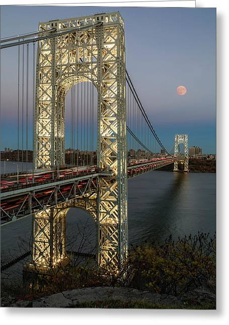 George Washington Bridge Moon Rising Greeting Card