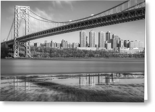 George Washington Bridge Nyc Reflections Bw Greeting Card