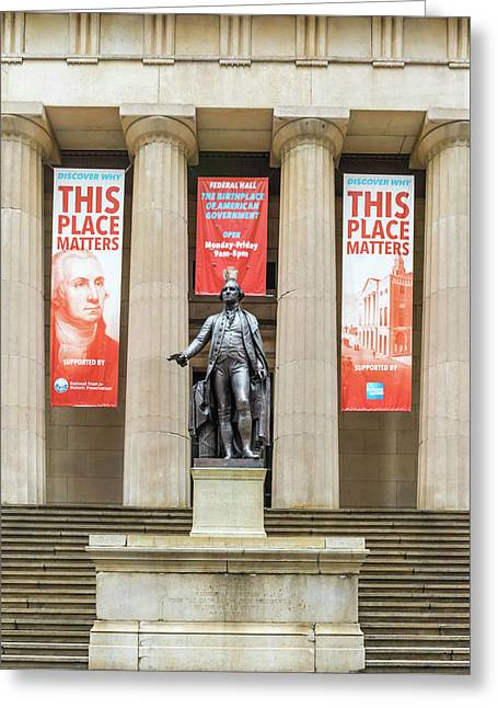 George Washington In Front Of Federal Hall National Memorial Greeting Card by Ivan Santiago