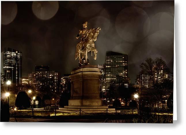 George Washington In The Public Garden - Boston Cityscape Greeting Card by Joann Vitali