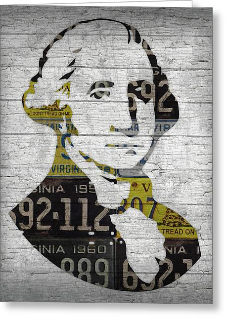 George Washington Presidential Portrait In Recycled Vintage Virginia License Plates On Wood Greeting Card by Design Turnpike