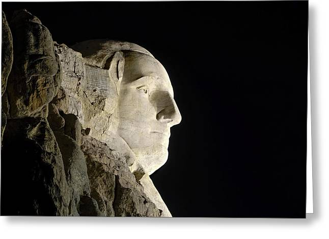 George Washington Profile At Night Greeting Card by David Lawson