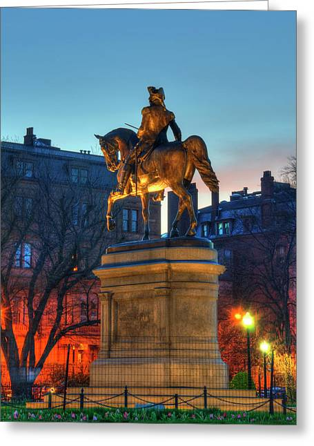 Greeting Card featuring the photograph George Washington Statue In Boston Public Garden by Joann Vitali