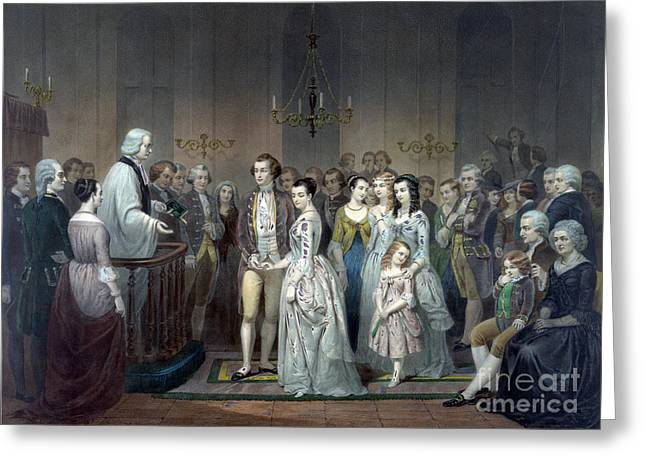 George Washington Weds Martha Custis Greeting Card by Science Source