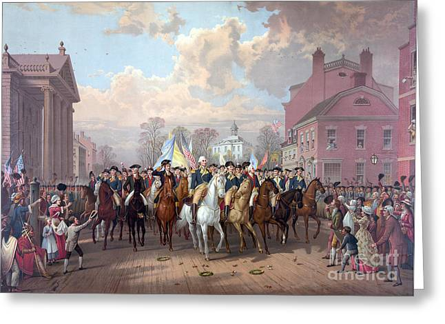 George Washingtons Return To Nyc, 1783 Greeting Card by Science Source