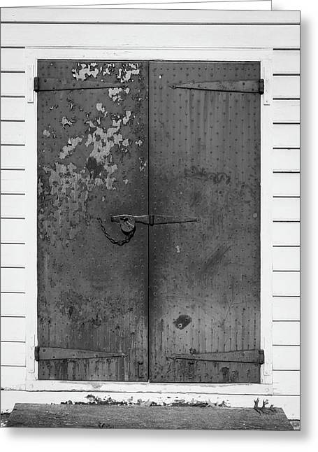 George Wythe Kitchen Door B W Greeting Card by Teresa Mucha