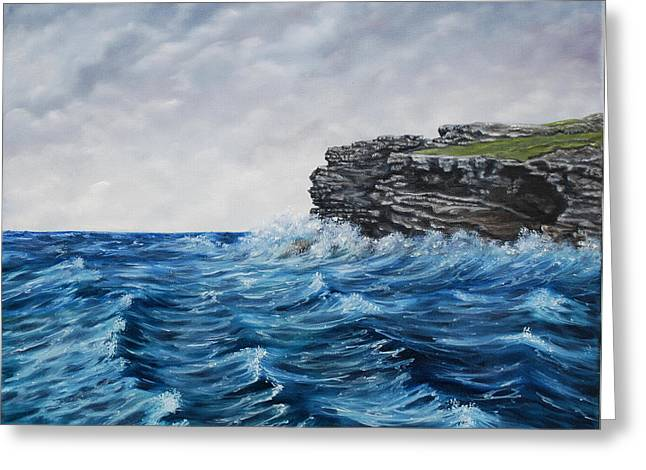 Georges Head Kilkee Oil Painting Greeting Card by Avril Brand