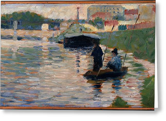 Georges Seurat    View Of The Seine Greeting Card