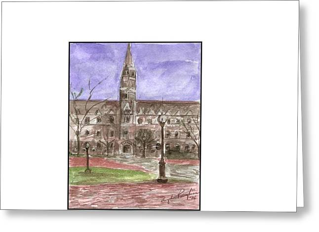 Georgetown University Healy View Greeting Card by Angela Puglisi