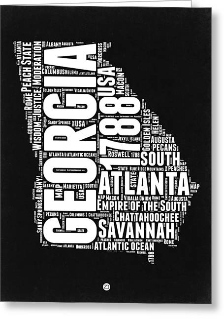 Georgia Black And White Word Cloud Map Greeting Card by Naxart Studio