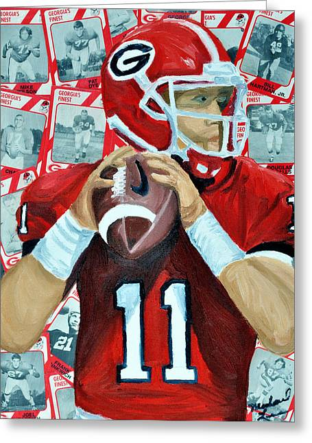Georgia University Greeting Cards - Georgia Quarterback Greeting Card by Michael Lee
