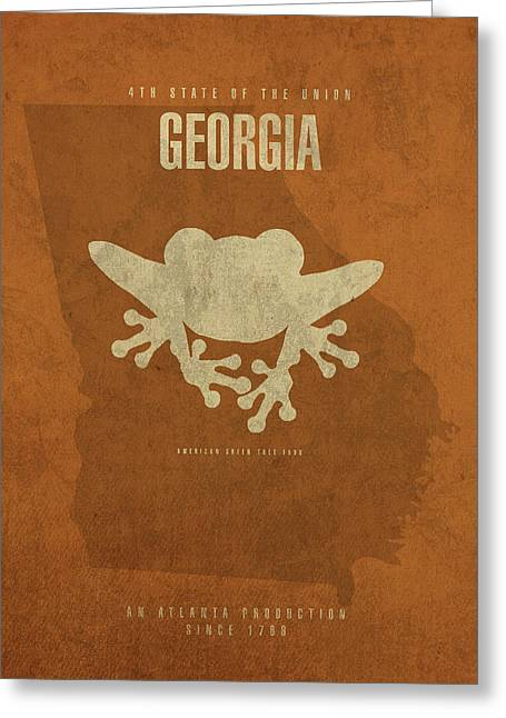 Georgia State Facts Minimalist Movie Poster Art Greeting Card by Design Turnpike