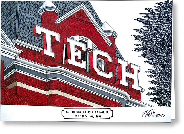 College Campus Drawings Greeting Cards - Georgia Tech Tower Greeting Card by Frederic Kohli