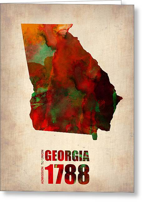 Georgia Watercolor Map Greeting Card by Naxart Studio