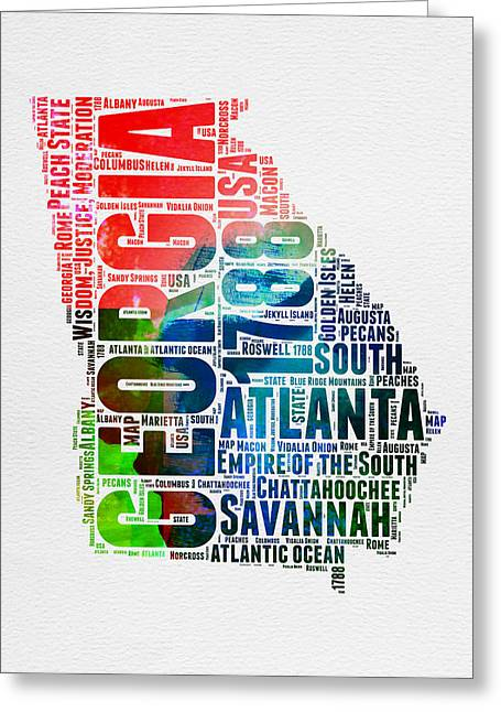 Georgia Watercolor Word Cloud Map  Greeting Card by Naxart Studio