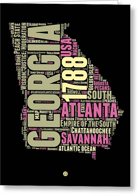 Georgia Word Cloud Map 1 Greeting Card by Naxart Studio