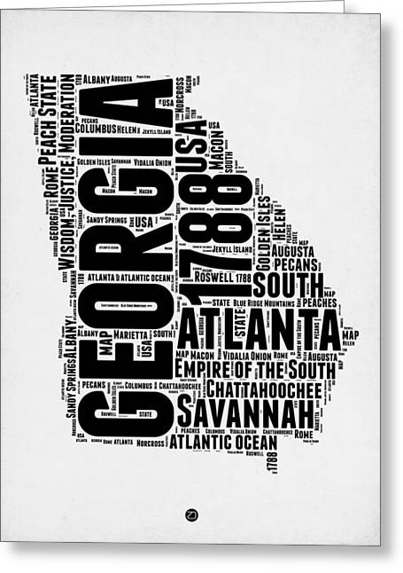 Georgia Word Cloud Map 2 Greeting Card by Naxart Studio