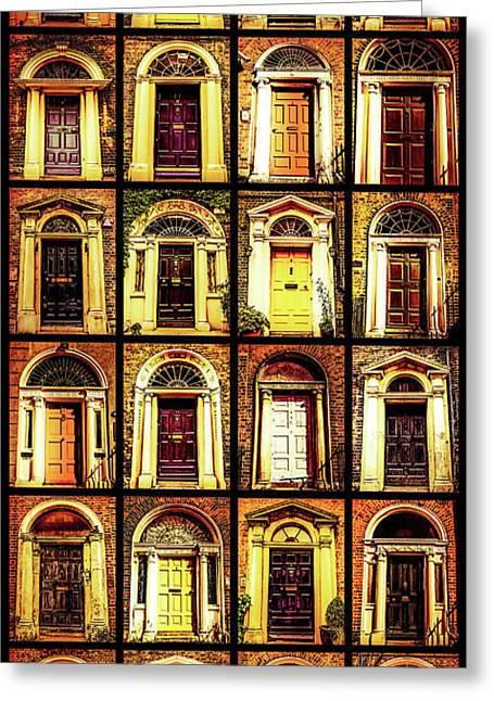 Georgian Doors Of Dublin 4 Greeting Card by Lexa Harpell