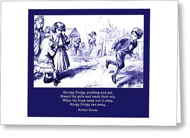Georgy Porgy Mother Goose Illustrated Nursery Rhyme Greeting Card