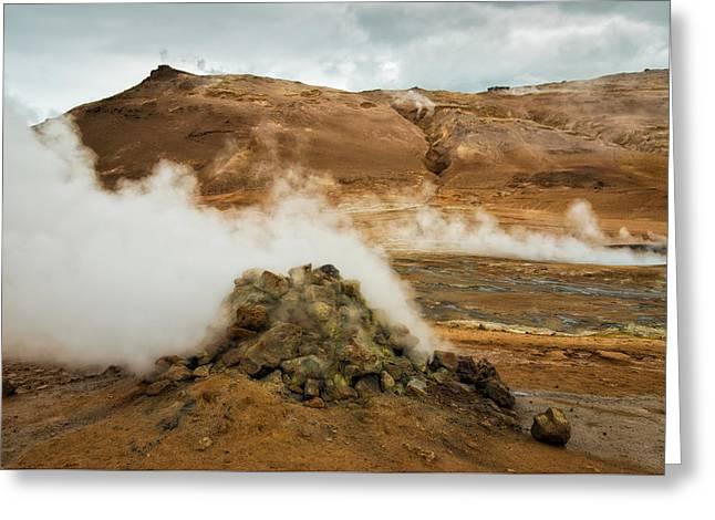 Geothermal Area Namafjall In Iceland Greeting Card by Matthias Hauser