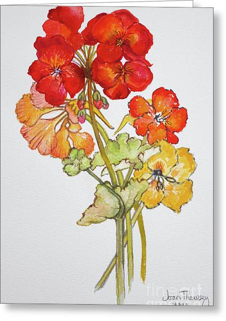 Geranium And Nasturtiums Greeting Card