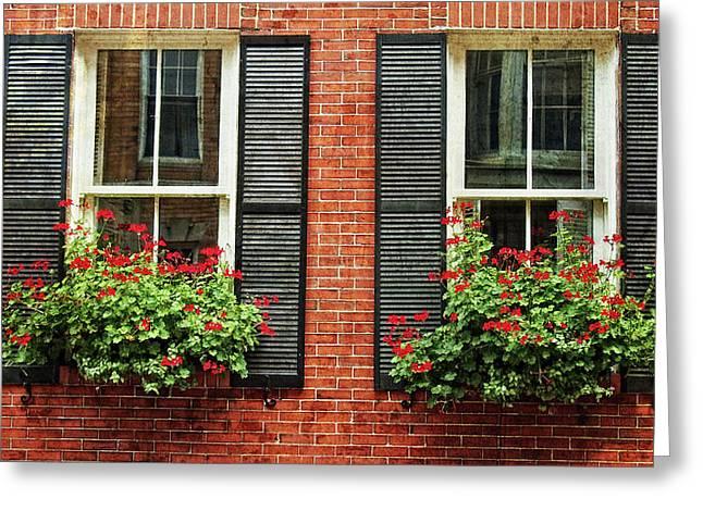 Geranium Window Boxes On Colonial Windows Greeting Card