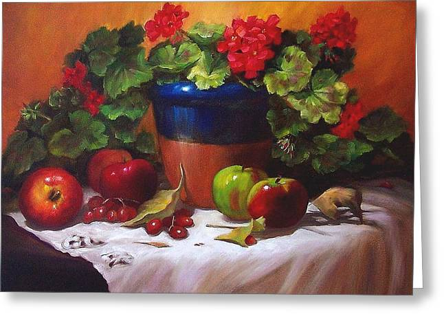 Geraniums And Apples Greeting Card by Donna Munsch