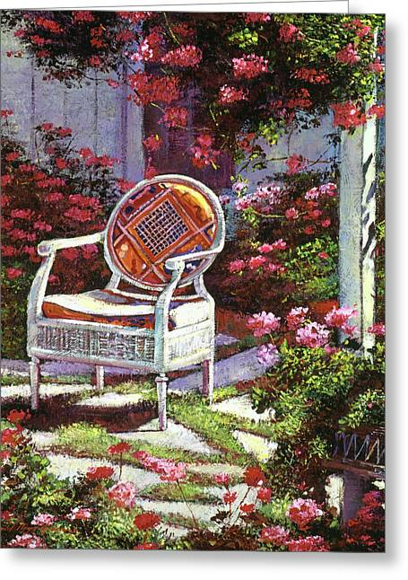 Geraniums And Wicker Greeting Card by David Lloyd Glover