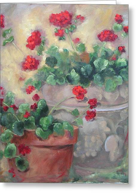Geraniums Greeting Card by Ginger Concepcion