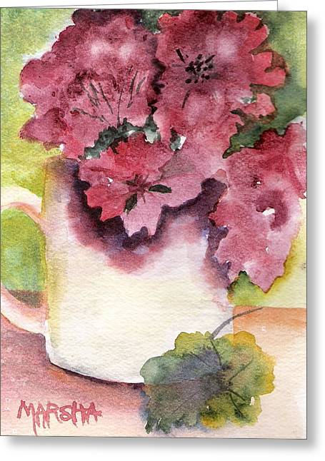 Geraniums In A Cup Greeting Card by Marsha Woods