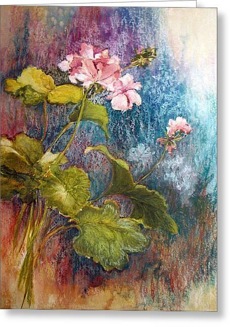 Geraniums Greeting Card by Lois Mountz