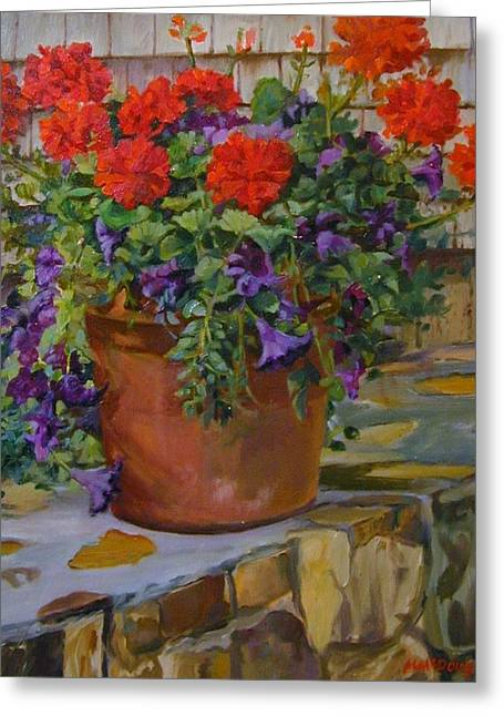 Geraniums Greeting Card by Michael McDougall