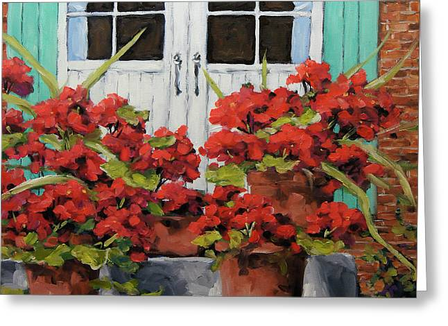 Geraniums On The Porch Greeting Card by Richard T Pranke