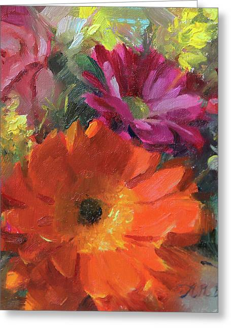 Gerber Daisy Study Greeting Card by Anna Rose Bain