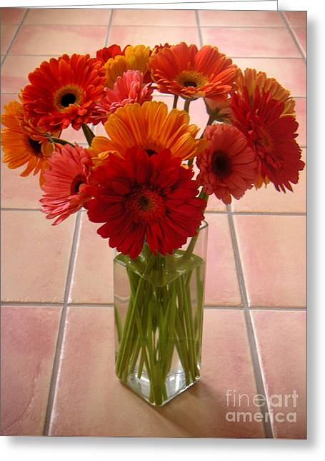 Gerbera Daisies - On Tile Greeting Card by Lucyna A M Green