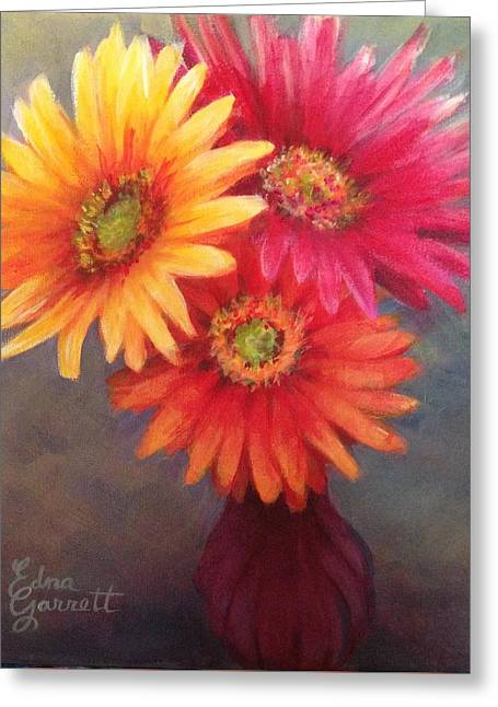 Gerbera Daisies In Purple Vase Greeting Card
