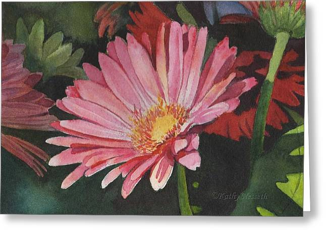 Gerbera Daisy Greeting Card by Kathy Nesseth