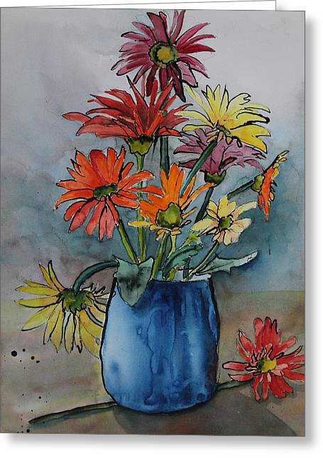 Gerberas In A Blue Pot Greeting Card