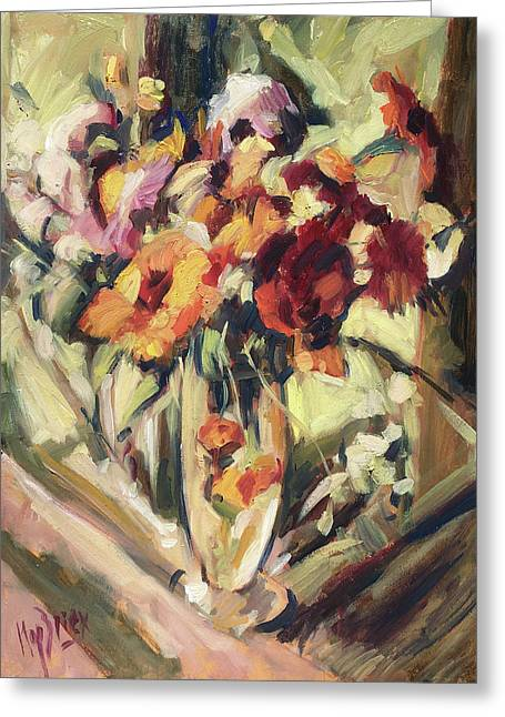 Gerberas In Glass Vase Greeting Card