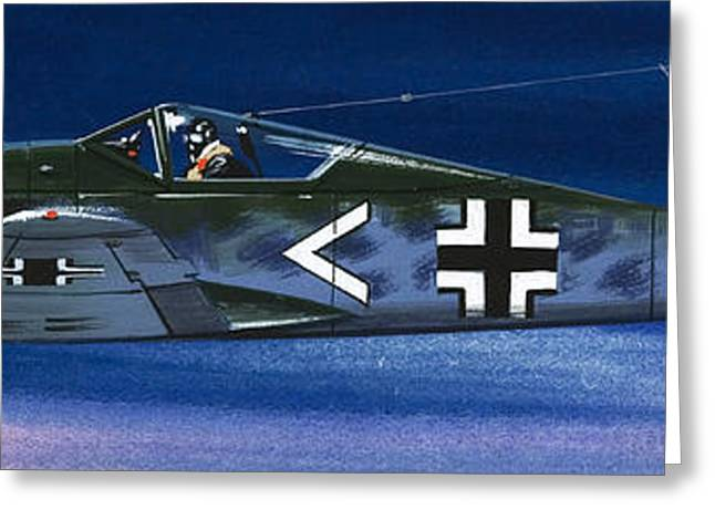 German Aircraft Of World War Two Focke Wulf Fighter Greeting Card by Wilf Hardy