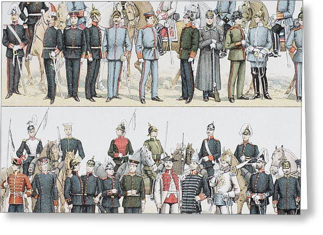 German Army And Cavalry Uniforms At The Greeting Card by Vintage Design Pics