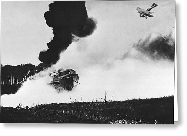 German Biplane Attacks Tank Greeting Card by Underwood Archives