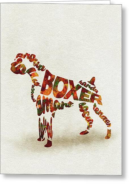 German Boxer Watercolor Painting / Typographic Art Greeting Card